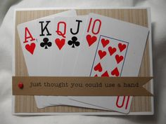 Playing card card (send him deck of cards and rolls of Sprees) Scrapbooking, Scrapbook Cards, Playing Card Crafts, Playing Cards, Get Well Cards, Masculine Cards, Card Tags, Creative Cards, Deck Of Cards