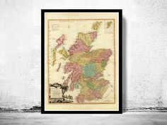 Old Map of Scotland 1778 Vintage Map