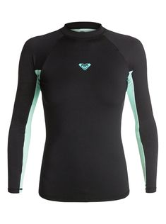 f2b16c8f7da Front view of Roxy black and light turquoise yellow rash guard. Compression  Clothing