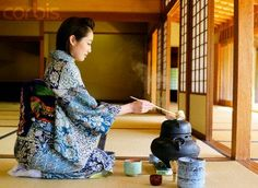 I had a Japanese roommate for a semester in college and we shared a love of tea, getting to experience a traditional Japanese tea ceremony is on my 'bucket list'!    Japanese Woman in a Kimono Making Tea