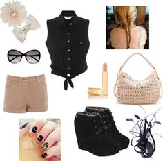"""""""Cream Blend with Black"""" by tran-mik on Polyvore"""