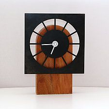 "Table Clock Black by John Nalevanko (Wood & Steel Clock) (7.75"" x 5.75"")"
