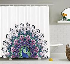 Amazon.com: Peacock Shower Curtain Decor by Ambesonne, Peacock Pattern and Exotic Wildlife Feather Ornament Vintage Oriental Image, Polyester Fabric Bathroom Shower Curtain Set with Hooks, Pink Navy Green Purple: Home & Kitchen