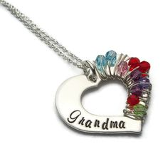 Grandmothers Necklace, Wrapped In Love, Birthstone Necklace, Up to 10 Birthstones, Grandma Jewelry, Grandmothers Jewelry, Handstamped by jessiegirljewelry. Explore more products on http://jessiegirljewelry.etsy.com