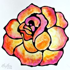 Black Glue Rose Watercolor Art - A fun and easy flower painting idea for kids, teens, and adults. The tutorial includes how to make black glue and basic beginning watercolor techniques to use for inspiration. Place in a frame for an easy gift idea. | #RhythmsOfPlay #WatercolorArt #ArtInSchools #ArtForAllAges #GiftIdeas #HomemadeGift