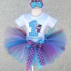 Personalized Blue and Purple Boo Inspired Birthday Girl Clothing