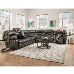 Gray Leather Reclining Sectional Legacy 500 Series From Franklin