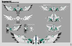 """Commission for Tez, """"Icarus"""" and """"Daedalus"""" HD View: A Robot Concept Art, Weapon Concept Art, Armor Concept, Anime Weapons, Sci Fi Weapons, Superhero Design, Robot Design, Fantasy Armor, Fantasy Weapons"""