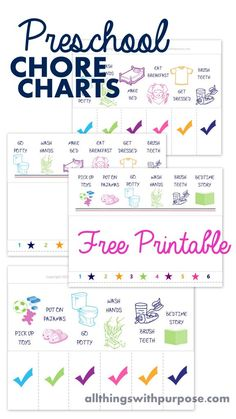 "This fun, free printable chore chart is just right for preschool age kids. No extra supplies needed! Print, fold and cut. Create an easy ""flip down"" chart."