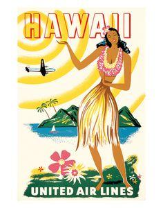 Voyage à Hawaii (vintage) Posters sur AllPosters.fr