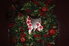 Fall/Christmas Wreath for the front door! scrapbook paper on Letter - can change for each season!