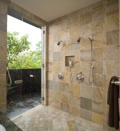 Like large side by side indoor shower transitioning to and out door version. But want white not brown marble