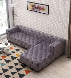 Everly Quinn Harris Chesterfield Sectional Upholstery: Brown, Orientation: Right Hand Facing Chesterfield Furniture, Grey Sectional Sofa, Leather Sectional, Chaise Sofa, Sofa Furniture, Living Room Furniture, Living Room Decor, Furniture Design, Metal Furniture