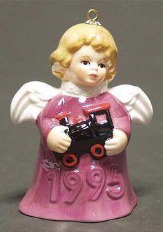 Goebel Angel Bell Ornament Train-Purple - Boxed