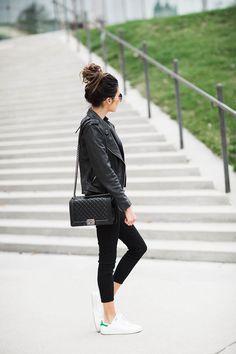 Leather Jacket + Stan Smith Adidas + Chanel Boy Bag