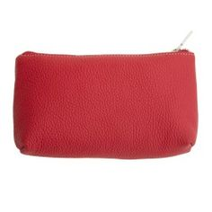 Tcross Made in Italy Red Pebbled Calf Leather Cosmetic Pouch