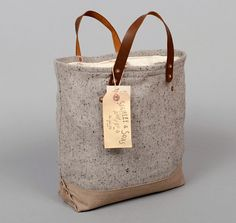 The Hill-Side / Stanley & Sons. DOUBLE LOAF BAG, TAN / GREY WOOL BLEND SLUB TWEED WITH TAN YARN-DYED TWILL BOOT :: HICKOREE'S