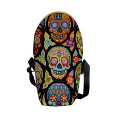 Shop Colorful Sugar Skulls Mini Messenger Bag created by thaneeyamcardle. Huichol Art, Cool Messenger Bags, Iphone 6 Covers, Boot Jewelry, Pack Your Bags, Fabric Beads, Fashion Gallery, Vera Bradley Backpack, Beautiful Bags