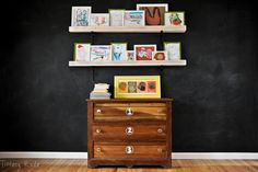 Gallery shelves and chalk board wall!