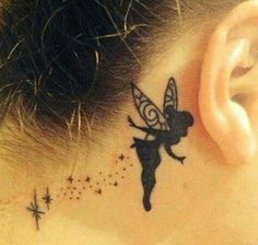 Tinkerbell tattoo, small tattoo behind the ear/neck for girls women