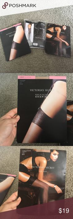 Pantyhose trio Three packs of brand new pantyhose. To Victoria's secret. Both size a. Both nude. One is classic stocking from the very sexy collection  and one is light shaping by body by Victoria. Leg Avenue is suspender pantyhose in black. Bag is torn but pantyhose never removed. Size A fit weight 88 to 122 pounds and height 4'11-5'4. Leg avenue is one size fits all with the weight from 90 to 160 pounds. Victoria's Secret Intimates & Sleepwear Shapewear