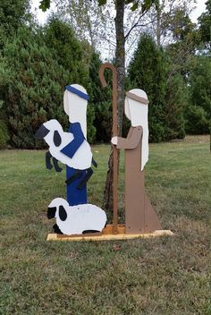 Hand-crafted Nativity scenes for sale! This set is of two shepherds and their sheep. 36 wide x 48 tall.  This particular listing is for delivery