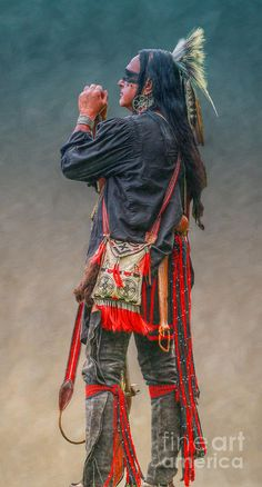 Tradition Art Print featuring the digital art Native American Warrior Portrait by Randy Steele