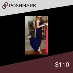 Navy blue prom dress Very cute navy blue dress with a slit and a high neck line Dresses Prom