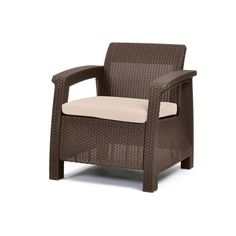 The Brown Keter Corfu Armchair features a contemporary design and ergonomic comfort that are just the right combination for your patio, garden spot or front porch. Made from polypropylene resin for durability, it's also UV protected against fading. The chair's open weave design mirrors the robust resilience of natural rattan and gives it an upscale look. The wide cushioned seat of this contemporar *** Continue to the product at the image link.