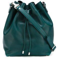 Proenza Schouler Medium Bucket Bag (€1.290) ❤ liked on Polyvore featuring bags, handbags, shoulder bags, green, blue handbags, proenza schouler, proenza schouler handbag, blue purse and green handbags