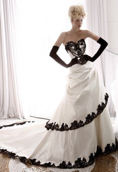 black and white bridesmaid dresses | Black and White Wedding Dresses With Sleeves