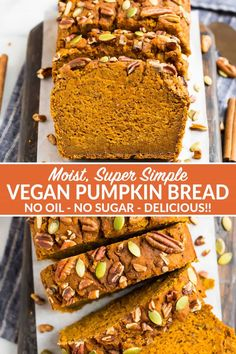 Moist, Delicious Vegan Pumpkin Bread Made With Applesauce And No Oil And No Sugar Easy, Packed With Fall Spices And Naturally Sweetened. Nobody Ever Suspects It's Low Fat This The Best Healthy Pumpkin Bread You Will Ever Bake Via Wellplated Vegan Baking, Healthy Baking, Low Calorie Baking, Low Calorie Vegan, Healthy Breads, Healthy Snacks, Healthy Pumpkin Bread, Pumpkin Recipes Healthy Easy, Low Fat Vegan Recipes