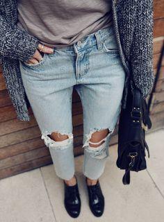ripped boyfriend jeans.