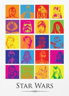 Star Wars Pop Art A3 Poster Print.  Wish it didn't have Jar-Jar on it. :/