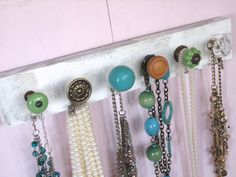 Necklace Holder with Blue and Green Knobs