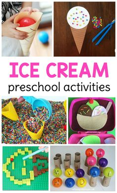 Art therapy activities for preschoolers So many hands-on and engaging ice cream activities for preschool, pre-k, and homeschool preschool to use during a summer theme! Ice Cream Cone Craft, Play Ice Cream, Ice Cream Games, Ice Cream Crafts, Ice Cream Theme, Ice Cream Day, Summer Preschool Activities, Art Therapy Activities, Toddler Activities