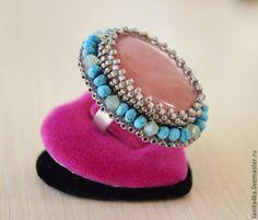 """Купить Кольцо """"Юнона"""" с Розовым Опалом.Вышивка бисером. - розовый, коктейльное кольцо, крупное кольцо"""