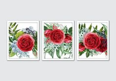 Watercolor English Roses Art Print Set - perfect addition to your decor! Frames not included.  / DETAILS Prints are printed on high end printers with top quality archival inks and heavyweight matte fine art papers allowing each print to have a professional quality and superior longevity. The quality is stunning and the prints are made to last.  ★ If you would like a different size please send a convo and I will quote you a price.  PLEASE NOTE: Keep in mind that every monitor is different...