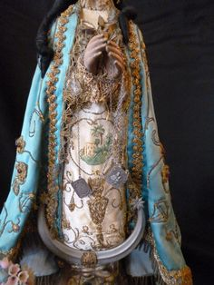Magnificent C. Carved Wood, Hand Carved, Eagle Emblems, French Fade, Virgin Mary Statue, Metal Crown, Passementerie, Embroidered Silk, Madonna