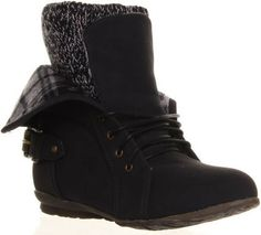 Womens Ankle Boots Fold Over Fur Lined Brogue Detail Warm Soft Shoes from 4Feetshoes