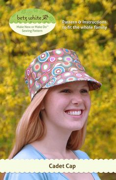 This cap will provide shade on your face and a spring in your step. Make it with an upbeat print in a sturdy twill or repurpose a pair of softly worn khakis. The Cadet Cap is fun to make and it's sized to fit the whole family. Hat Patterns To Sew, Pdf Sewing Patterns, White Patterns, Clothes Patterns, Easy Sewing Projects, Sewing Tutorials, Sewing Ideas, Sewing Crafts, Craft Projects