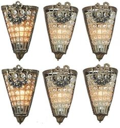 Set of Six Hollywood Regency Sconces | Modernism