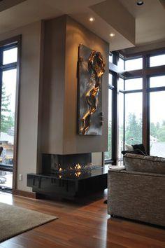 Home - modern - fireplaces - los angeles - Ortal USA Home Fireplace, Fireplace Remodel, Fireplace Design, Fireplace Ideas, Kb Homes, Chimenea Simple, Living Room Designs, Living Room Decor, Scandinavian House