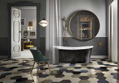 Because we do love tiles, we put together some hottest tile trends unveiled at Cersaie Hexagonal, Wood-like, Marble, and Cements Tile are a must. Next Bathroom, Design Apartment, Hexagon Tiles, Bathroom Trends, Floor Patterns, Geometric Patterns, Wall And Floor Tiles, Style Tile, Modern Bathroom Design