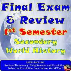 """FINAL EXAM and Review for World History (First Semester) This purchase includes a 50-Question, Multiple-Choice FINAL EXAM, World Cafe and Six-Square Review Strategies.  Review strategies Included: A fun World Café Activity where students will rotate between six different centers to discuss the essential questions for each unit of study. They will write down and draw important ideas on the """"table cloth"""" and then discuss the ideas they notice with their group members. Click to see more…"""