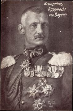 Kronprinz Rupprecht von Bayern of Bavaria resembles his grandfather, Prince Regent Luitpold, who became King Ludwig III.  Because the Germans lost in WWI Rupprecht never became king of Bavaria.  Bavaria became a republic, but Rupprecht is remembered as one of the best German generals of the war.