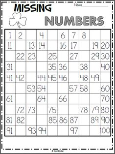 Free chart math worksheet for St. Write the missing numbers on the hundreds chart. As an extension activity, ask the students skip count numbers by or or another number and color those squares green. Printable Math Worksheets, Kindergarten Math Worksheets, Math Resources, Math Activities, Alphabet Activities, Touch Math, Math Classroom, Fun Learning, Numbers