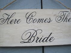 Rustic Wedding Here Comes the Bride Sign Ring by dlightfuldesigns, $15.00