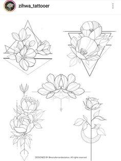 Flowers & geometric – - Flower Tattoo Designs - Tattoo World Rose Tattoos, Flower Tattoos, New Tattoos, Body Art Tattoos, Female Tattoos, Tribal Tattoos, Tattoo Design Drawings, Flower Tattoo Designs, Tattoo Sketches