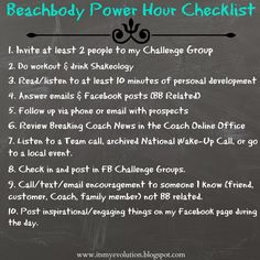 It's My Evolution: Beachbody Power Hour Checklist